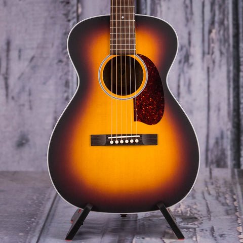 Guild M-40E Troubadour Acoustic/Electric Guitar, Antique Burst, front closeup