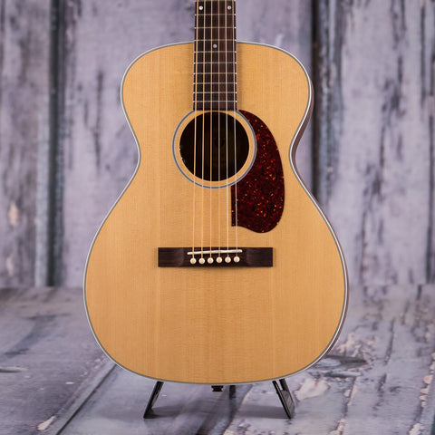 Guild M-40E Troubadour Concert Acoustic Electric Guitar, Natural, front closeup
