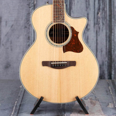 Ibanez AE205JR Acoustic/Electric Guitar, Open Pore Natural, front closeup