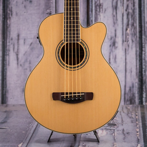 Ibanez AEB105E Acoustic/Electric Bass, Natural High Gloss, front closeup