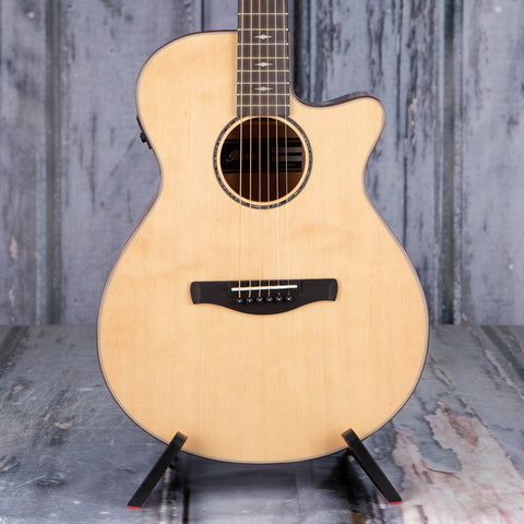 Ibanez AEG200 Acoustic/Electric Guitar, Natural Low Gloss, front closeup