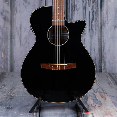Ibanez AEG50N Classical Acoustic/Electric Guitar, Black High Gloss, front closeup
