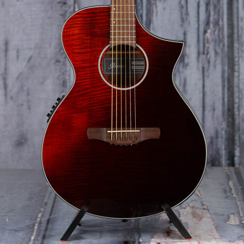 Ibanez AEWC32FM Acoustic/Electric Guitar, Red Sunset Fade High Gloss, front closeup