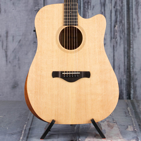 Ibanez Artwood AW150CE Acoustic/Electric Guitar, Open Pore Natural, front closeup