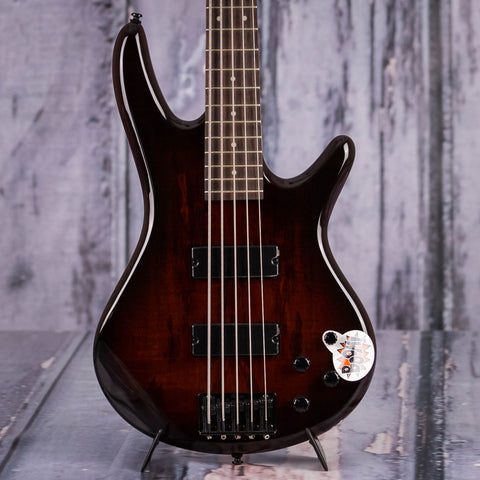 Ibanez GIO GSR205SM 5-String Electric Bass, Charcoal Brown Burst *Demo Model*, front closeup