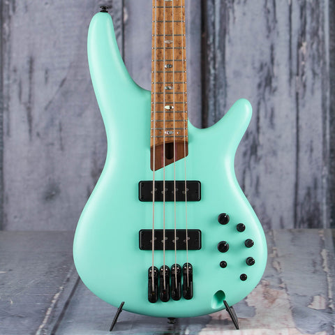 Ibanez Premium SR1100B Electric Bass Guitar, Sea Foam Green Matte, front closeup