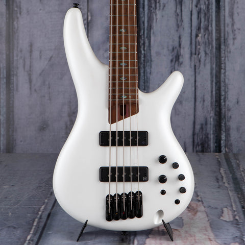 Ibanez Premium SR1105B 5-String Electric Bass Guitar, Pearl White Matte, front closeup