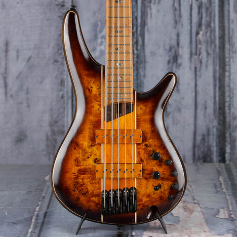 Ibanez Premium SR5PBLTD 5-String Electric Bass Guitar, Dragon Eye Burst Low Gloss, front closeup