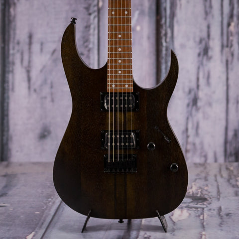 Ibanez RGRT421 Electric Guitar, Walnut Flat, front closeup
