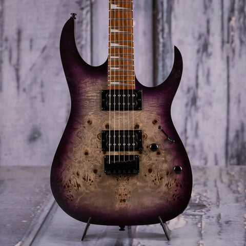 Ibanez RGRT621DPB Electric Guitar, Transparent Purple Burst Flat, front closeup