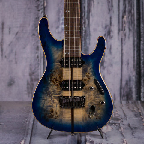 Ibanez S1027PBF Premium 7-String Electric Guitar, Cerulean Blue Burst, front closeup
