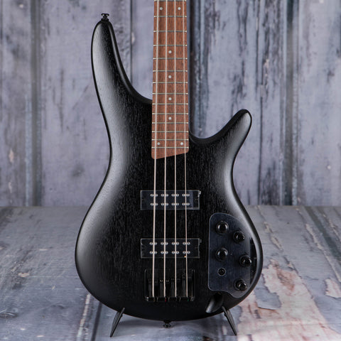 Ibanez SR300EB Electric Bass Guitar, Weathered Black, front closeup