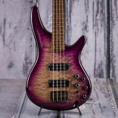 Ibanez SR400EQM Electric Bass, Purple Space Burst Gloss, front closeup