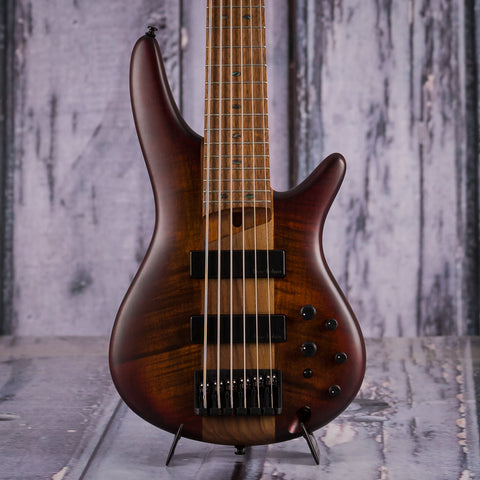 Ibanez SR876 6-String Electric Bass, Brown Toppers Burst Flat, front closeup
