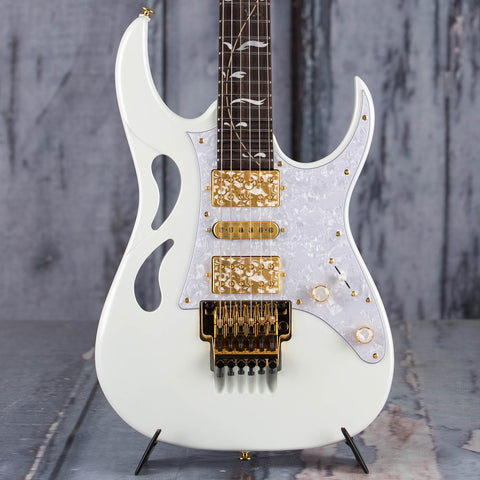 Ibanez Steve Vai Signature PIA Electric Guitar, Stallion White, front closeup