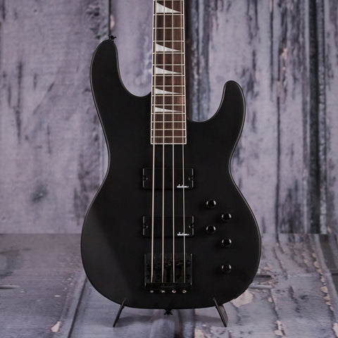 Jackson JS Series JS3 Concert Bass, Satin Black, front closeup