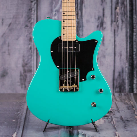 John Page Classic AJ Electric Guitar, Seafoam Green, front closeup