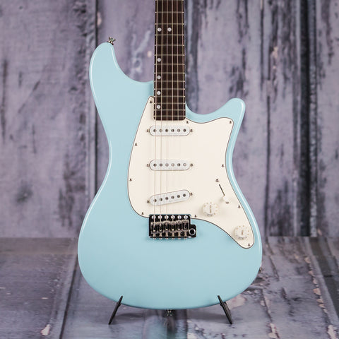 John Page Classic Ashburn Electric Guitar, Daphne Blue, front closeup