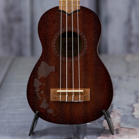 Kala KA-15S-H2 Hawaiian Islands Satin Mahogany Soprano Ukulele, Natural, front closeup
