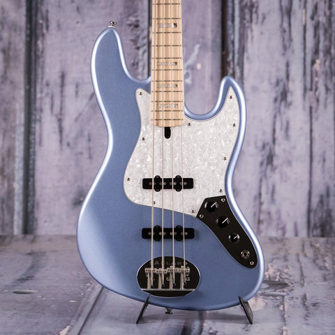 Lakland Skyline 44-60 Custom J Electric Bass, Ice Blue Metallic, front closeup