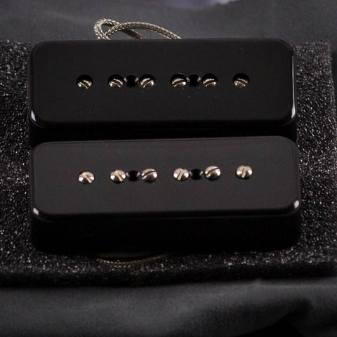 Lollar '50s Wind P-90 Soapbar Neck & Bridge Pickup Set, Black, front closeup