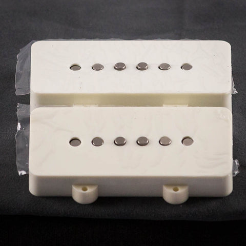 Lollar Jazmaster Neck & Bridge Pickup Set, White Ivory, front closeup