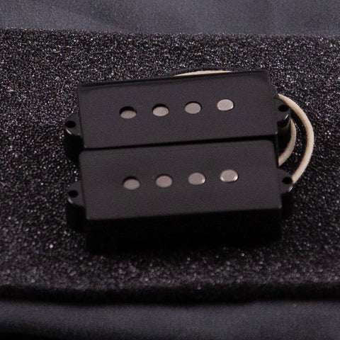 Lollar Standard Precision Bass Split Coil Pickup Set, Black, front closeup