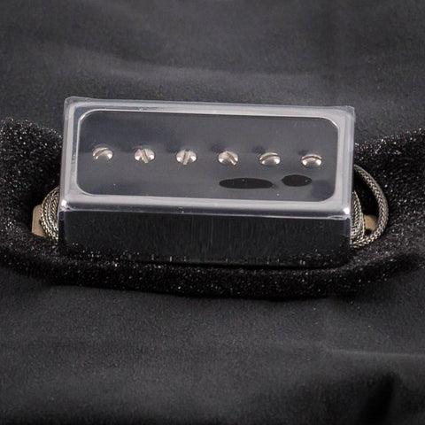 Lollar Single-Coil For Humbucker Neck Pickup, Black Gloss Chrome, front closeup