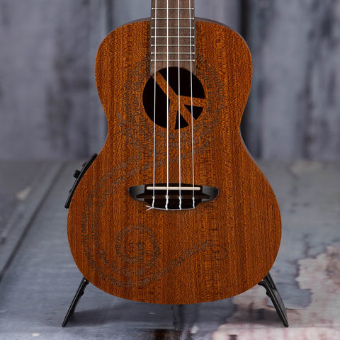 Luna Concert Maluhia Peace Acoustic/Electric Ukulele, Natural, front closeup