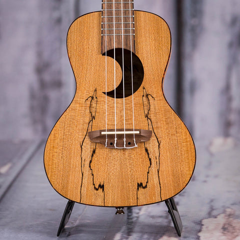 Luna Cresent Spalt Maple Concert Ukulele, Satin Natural, front closeup