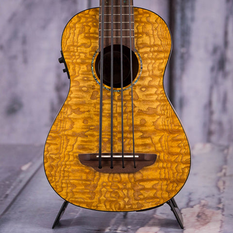 Luna Quilt-Ash Bari-Bass Acoustic/Electric Ukulele, Satin Natural, front closeup
