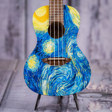 Luna Starry Night Concert Ukulele, Starry Night, front closeup