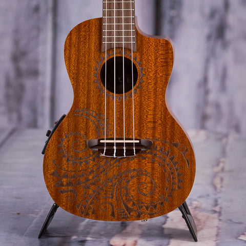 Luna Tattoo Concert Mahogany Acoustic/Electric Ukulele, Satin Natural, front closeup