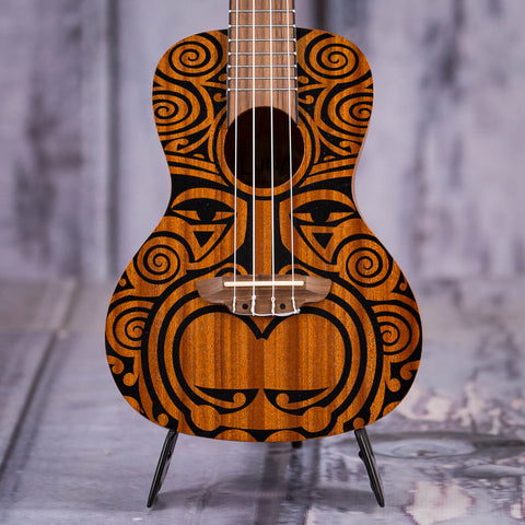 Luna Tribal Concert Mahogany Ukulele, Satin Natural, front closeup