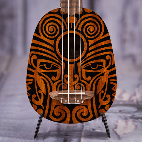 Luna Tribal Mahogany Pineapple Ukulele, Satin Natural, front closeup