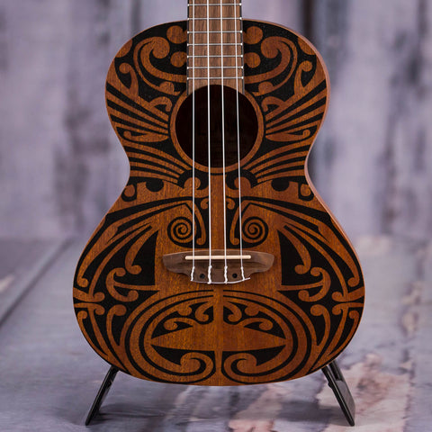 Luna Tribal Mahogany Tenor Ukulele, Satin Natural, front closeup