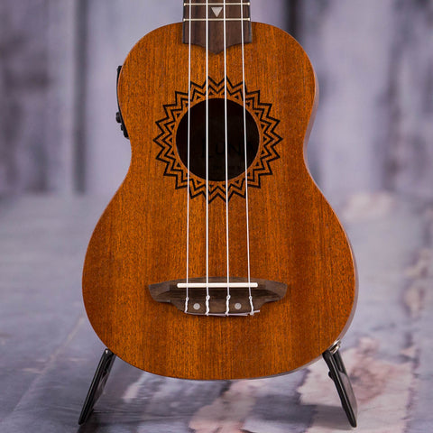 Luna Vintage Mahogany Soprano Acoustic/Electric Ukulele, Satin Natural, front closeup