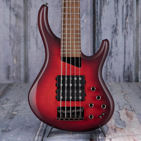 MTD Kingston Super-5 5-String Electric Bass Guitar, Dr. Brown's Burst, front closeup