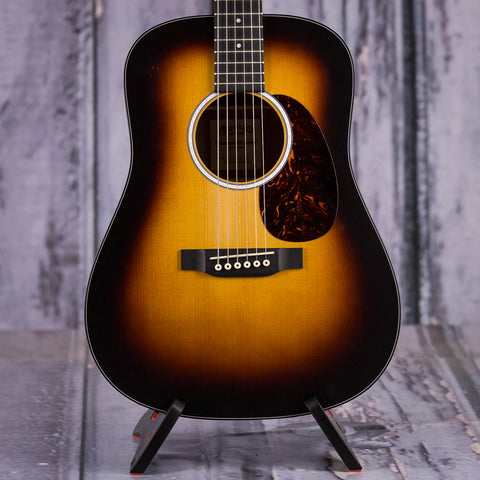 Martin DJR-10E Burst Acoustic/Electric Guitar, Sunburst, front closeup