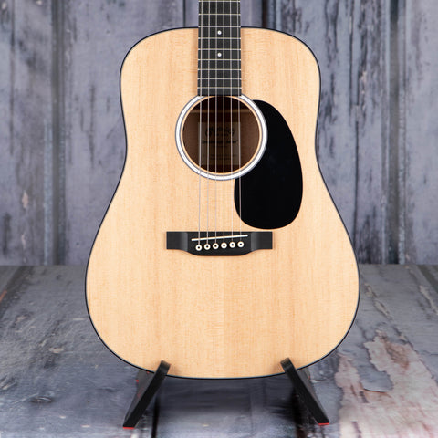 Martin DJR-10E Dreadnought Junior Acoustic/Electric Guitar, Natural, front closeup