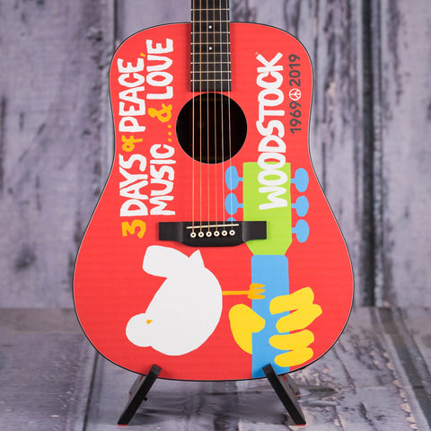 Martin DX Woodstock 50th Anniversary Acoustic/Electric Guitar, Woodstock Design, front closeup
