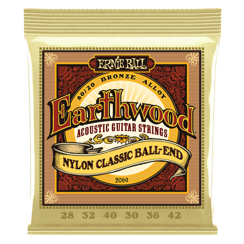 Ernie Ball EARTHWOOD FOLK NYLON, CLEAR & GOLD BALL END, 80/20 BRONZE ACOUSTIC GUITAR STRINGS