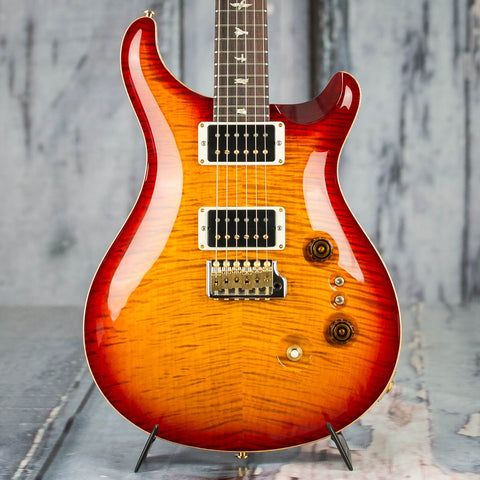 Paul Reed Smith 35th Anniversary SE Custom 24 10 Top Electric Guitar, Dark Cherry Burst, front closeup