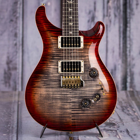 Paul Reed Smith Custom 24-08 10 Top Electric Guitar, Charcoal Cherry Burst, front closeup