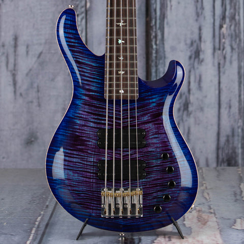 Paul Reed Smith Grainger 10 Top 5-String Electric Bass Guitar, Violet Blue Burst, front closeup