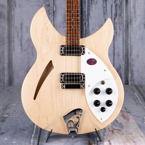 Rickenbacker 330/6MG Thinline Semi-Hollowbody Guitar, Mapleglo, front closeup