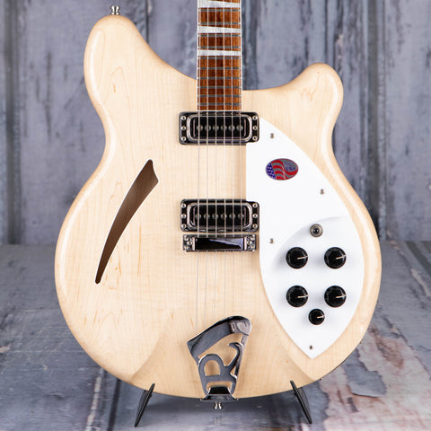 Rickenbacker 360 Deluxe Thinline Semi-Hollowbody Electric Guitar, Mapleglo, front closeup