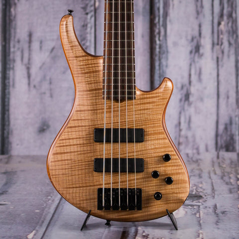 Roscoe SKB Custom Series 5-String Electric Bass Guitar, Natural, front closeup