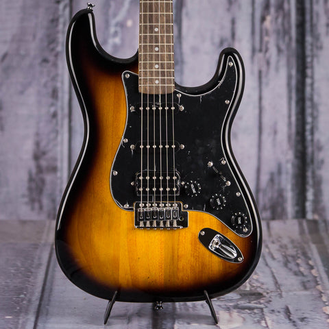 Squier Affinity Series HSS Stratocaster Pack, Brown Sunburst, front closeup
