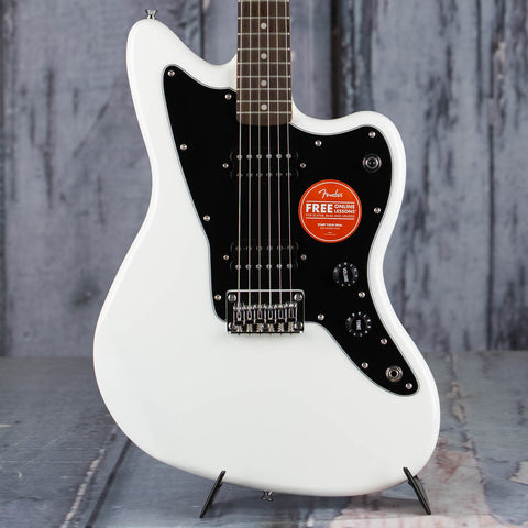 Squier Affinity Series Jazzmaster Electric Guitar, HH, Arctic White, front closeup